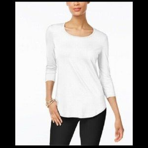 Jm Collection Womens Scoop-Neck Casual Shirt - Top